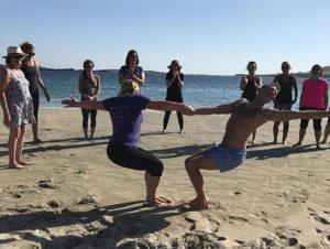 practicing yoga on Inisbofin