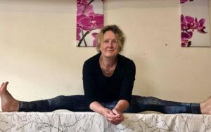 Christine Stewart wide leg on table